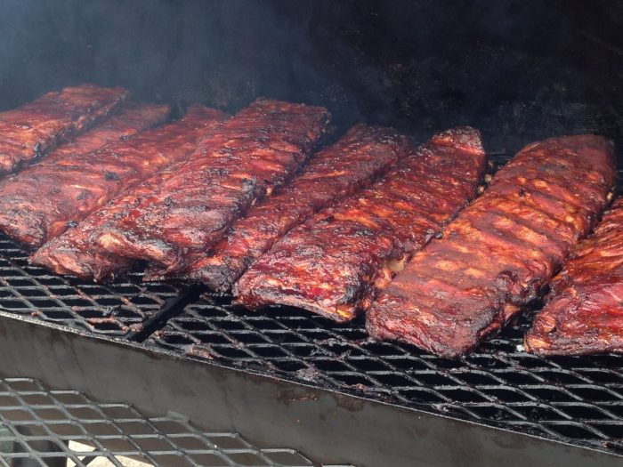 smoking ribs in a smoker