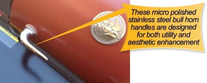 REC TEC Pellet Grill : steel bull horn handles