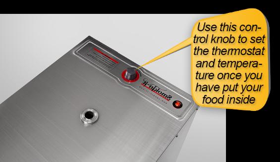Smokin-It Model 1 Electric Smoker: thermostat, temperature control knob