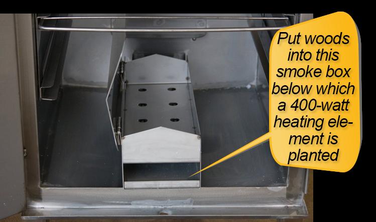 Smokin-It Model 1 Electric Smoker : smoke box and drip pan