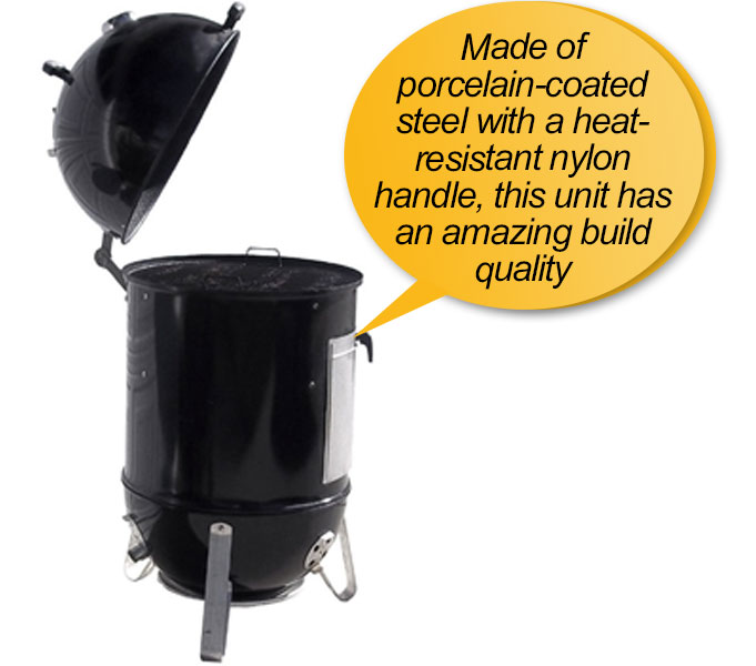 Weber 731001 Smokey Mountain charcoal smoker: porcelain-enameled steel body