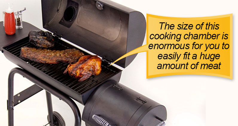 Char-Broil American Gourmet Offset Smoker : cooking chamber, cooking space