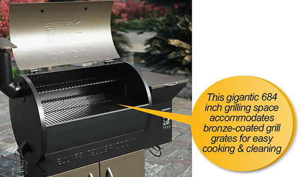 YOYO 684SQIN Wood Pellet Grills : cooking space, cooking grid