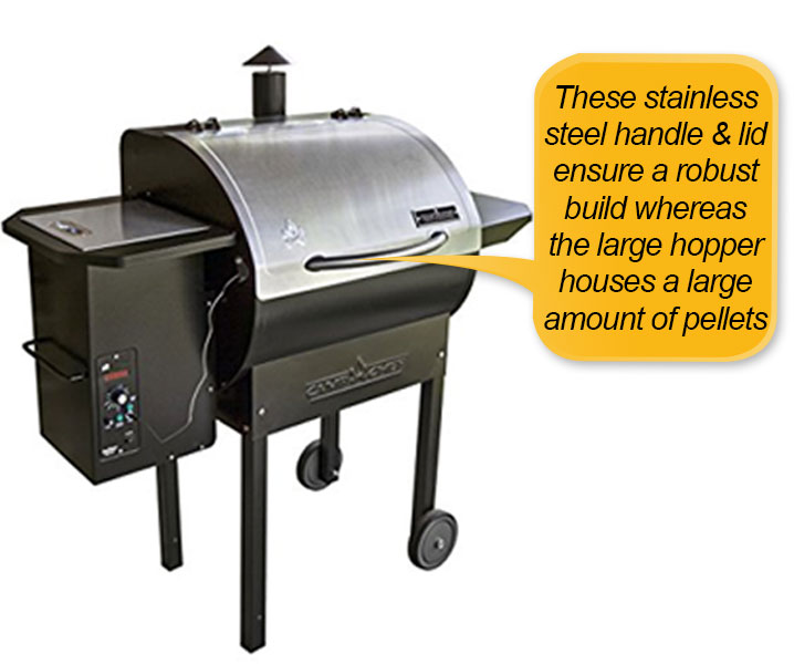 Camp Chef PG24S Pellet Grill and Smoker Deluxe: handle, lid and pellet hopper