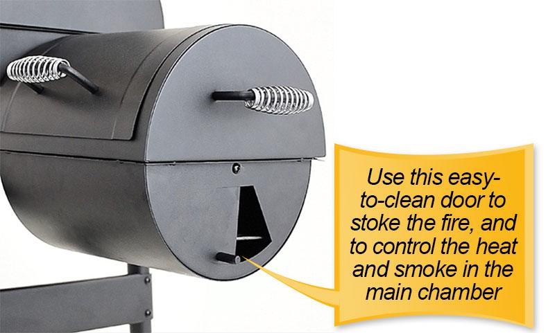 Char-Broil American Gourmet Offset Smoker : easy clean door
