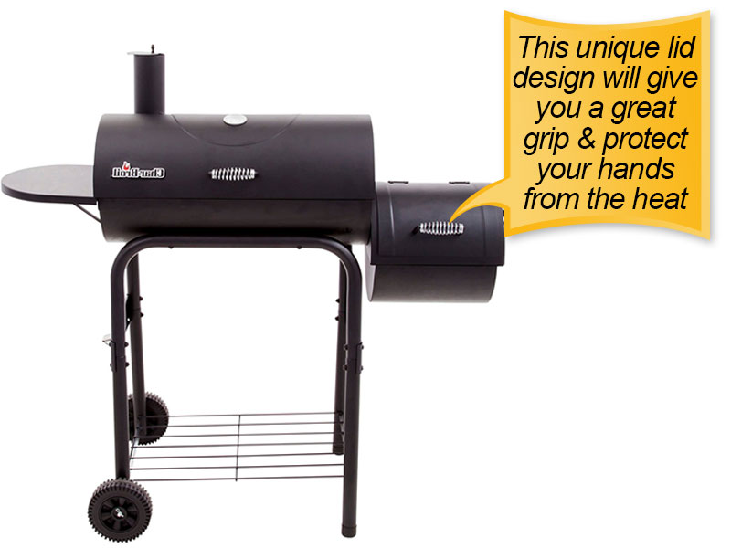 Char-Broil American Gourmet Offset Smoker : lid handle, easy grip