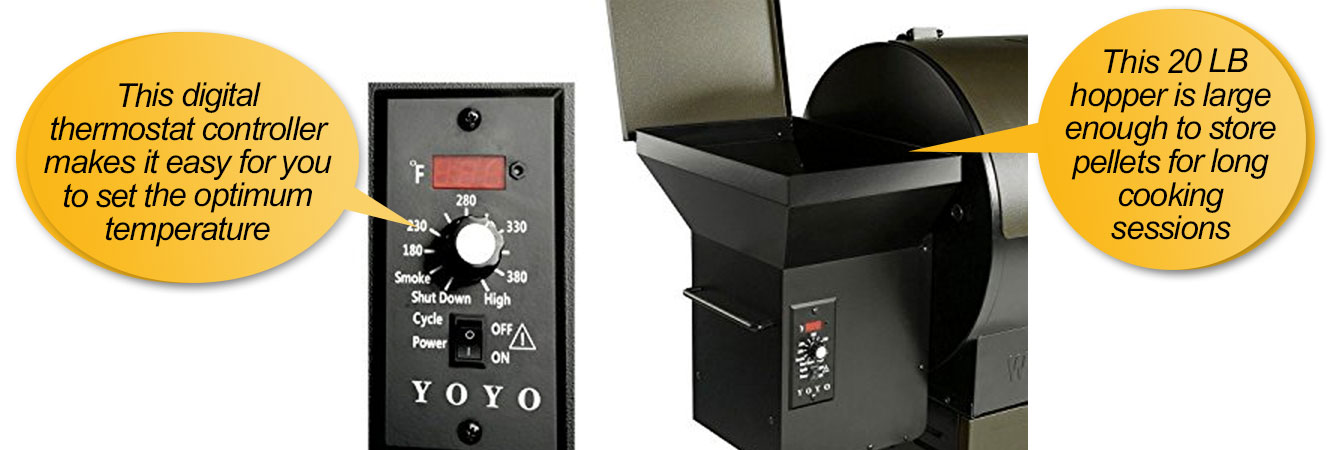 YOYO 684SQIN Wood Pellet Grills : Digital control unit, pellet hopper