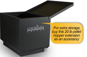 Louisiana Grills LG 900 Review: extra storage, hopper extension