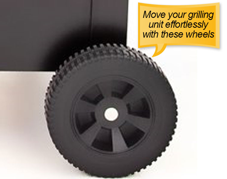 Char-Broil American Gourmet Offset Smoker : wheels
