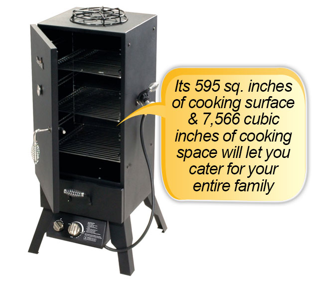 Char Broil Vertical Gas Smoker : Cooking area, surface, space