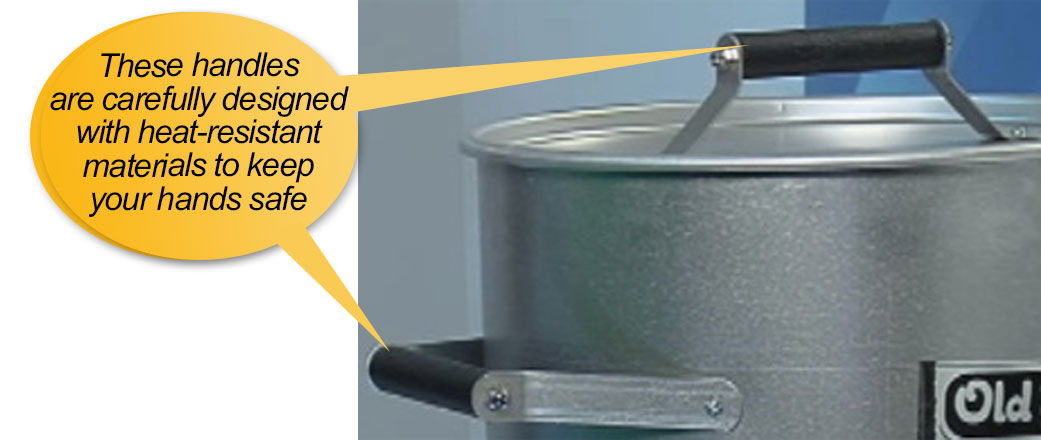 old smokey grill: heat resistant handles