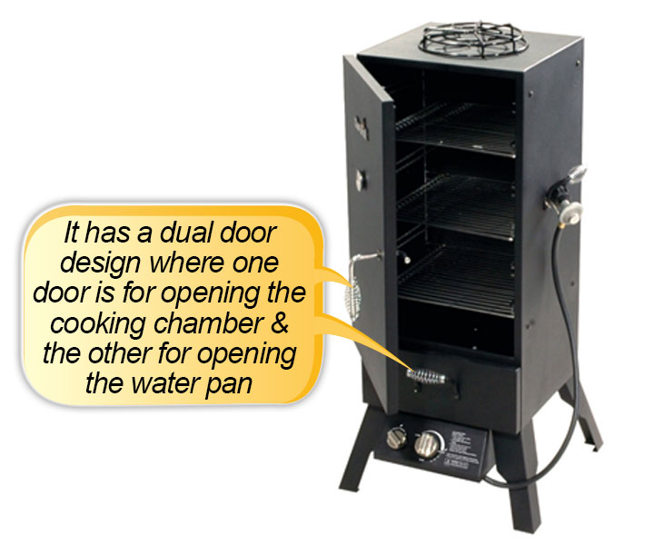 Char Broil Vertical Gas Smoker : dual door design