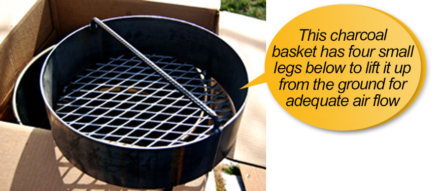 pit barrel cooker package review: charcoal basket
