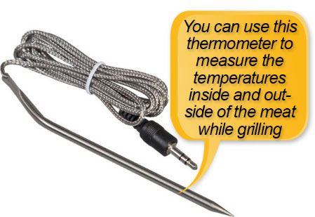 Camp Chef PG24S Pellet Grill and Smoker Deluxe: meat probe, meat temperature probe, thermometer