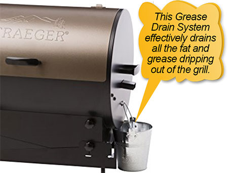Traeger Pellet Grills BBQ155.01: grease drain system, grease catcher