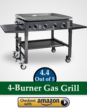 flat top gas griller: Blackstone 36 inch Outdoor Flat Top Gas Grill Griddle Station - 4-burner - Propane Fueled - Restaurant Grade - Professional Quality