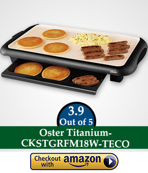 flat top gas griller: Oster Titanium Infused DuraCeramic Griddle with Warming Tray, Black/Crème (CKSTGRFM18W-TECO)